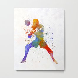Volley ball player man 02 in watercolor Metal Print