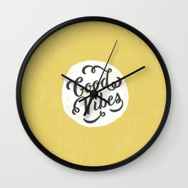 good vibes logo new art love cute 2018 2019 style yellow vibes beach new hot style fashion case cove Wall Clock