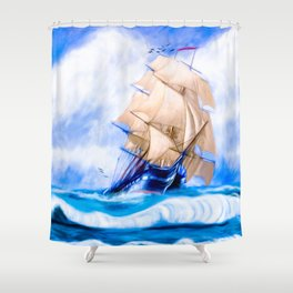 Frigate USS Constitution At Sea Shower Curtain