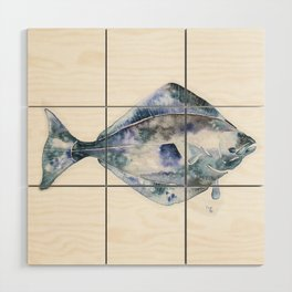 Flat Fish Watercolor Wood Wall Art