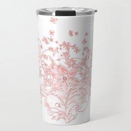 Butterfleur - floral design with flowers & butterflies Travel Mug