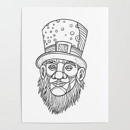 Irish Leprechaun Mono Line Poster