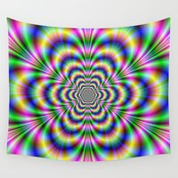hexagon Wall Tapestries featuring Psychedelic Hexagon by Objowl