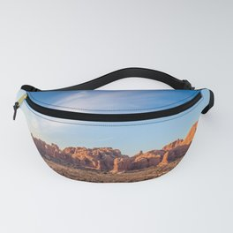 Natural Monuments Panorama in Arches National Park Fanny Pack