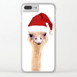 Ostrich Christmas Clear iPhone Case