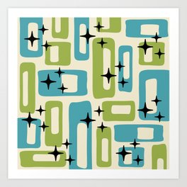 Retro Mid Century Modern Abstract Pattern 225 Blue and Green Art Print