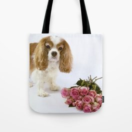 Cavalier King Charles Spaniel With Pink Roses Tote Bag