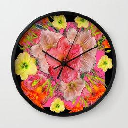 YELLOW PINK & CREAM DAYLILIES BLACK GARDEN Wall Clock