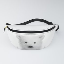 Baby Polar Bear Black & White, Baby Animals Art Print by Synplus Fanny Pack