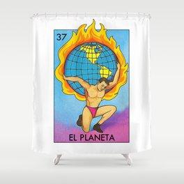 Loteria Mexican Bingo Planet Earth Shower Curtain