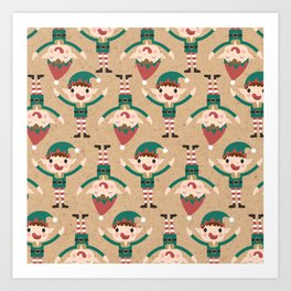 Santa's Elven Slaves II (Patterns Please) Art Print