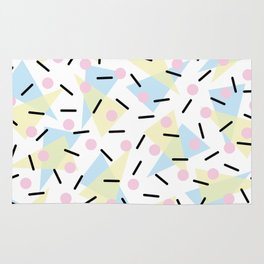 Funky Memphis Confetti Party Pattern Blue Pink Yellow Rug