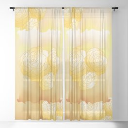 Begonias pattern design Sheer Curtain