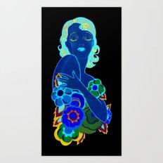 Retro Woman with Flowers Art Print