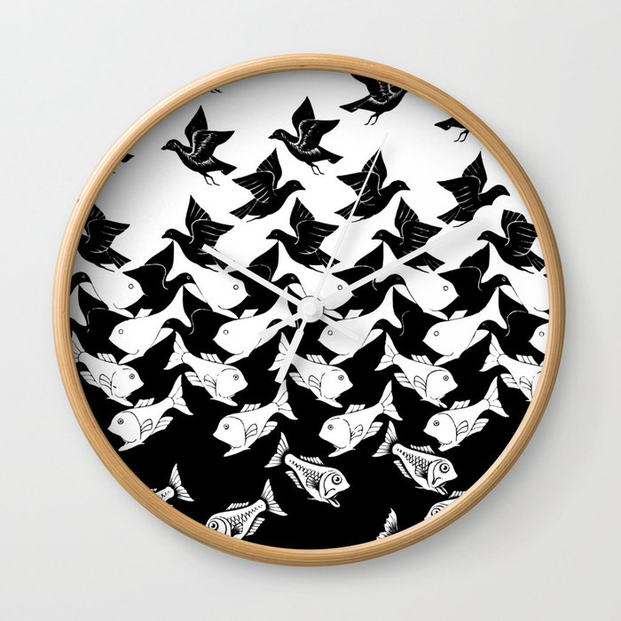 Fish And Birds Tessellation Art Deco Wall Clock