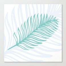 Palm Leaf in Blue and Green Canvas Print
