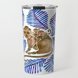 Monkey Cuddles – Navy Leaves Travel Mug