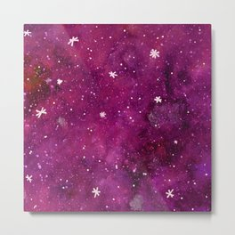 Watercolor galaxy - purple Metal Print