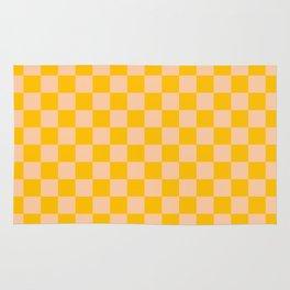 Deep Peach Orange and Amber Orange Checkerboard Rug
