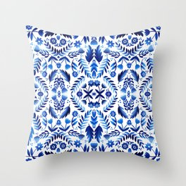 Folk Art Flowers - Blue and White Throw Pillow