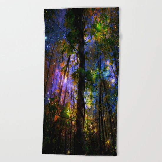 Forest of the Fairies Night Beach Towel