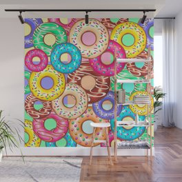 Donuts Punchy Pastel flavours Pattern Wall Mural