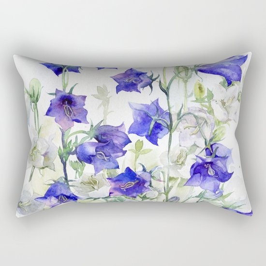 Bluebells watercolor flowers, aquarelle bellflowers Rectangular Pillow