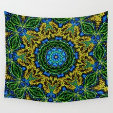 Lovely Healing Mandalas in Brilliant Colors: Hunter Green, Green, Navy, Light Blue, and Goldenrod Wall Tapestry