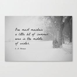 Thoreau Quote Winter Canvas Print