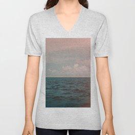 Turquoise Ocean Peach Sunset Unisex V-Neck