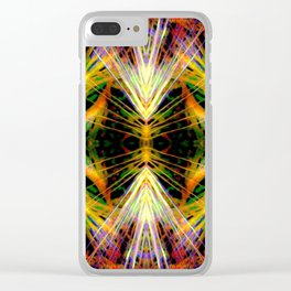 Yellow Bright Rays,Fractal Art Clear iPhone Case