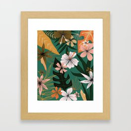 retro style floral on green Framed Art Print