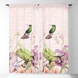 Vintage & Shabby Chic - Blush Tropical Hummingbird Flower Garden Blackout Curtain