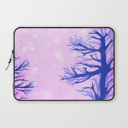 Blue ghost trees on pink speckled sky Laptop Sleeve