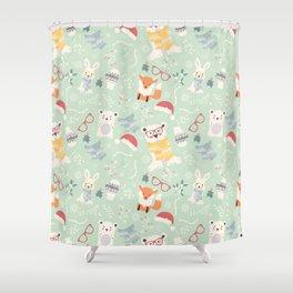 Christmas polar animals pattern 002 Shower Curtain