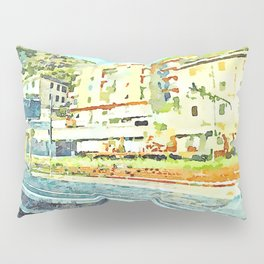 Travel by train from Teramo to Rome: railway station from the train window Pillow Sham