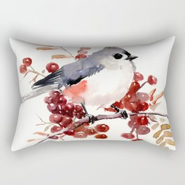 Titmouse and Berries, red fall colors, birds and flowers vintage style east coast Rectangular Pillow