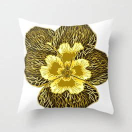 """""""Gold"""" Pansy Flower Special Edition 2 (Clear Back) Throw Pillow"""