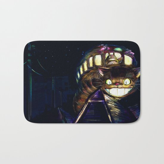 Cat Bus is In Your Town! Miyazaki Tribute Digital Fan Painting Bath Mat