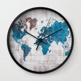 world map 96 blue #worldmap #map Wall Clock