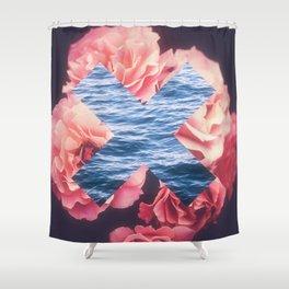 flowers - roses - ocean - waves Shower Curtain