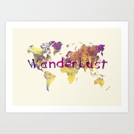 world map 90 wanderlust Art Print