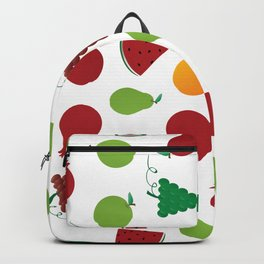Fruits Pattern - Apple Pear Watermelon Grapes Pomegranate Backpack