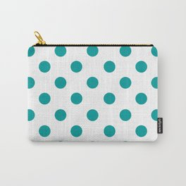 POLKA DOT DESIGN (TEAL-WHITE) Carry-All Pouch