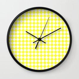 White and Electric Yellow Diamonds Wall Clock