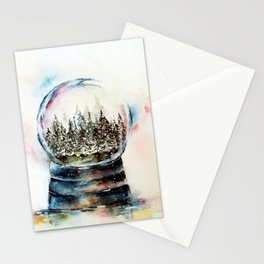 Snow globe - watercolour illustration Stationery Cards