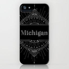 Black Art Deco Michigan iPhone Case