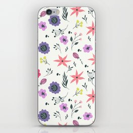 Abstract coral purple violet vector floral pattern iPhone Skin