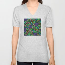 Neon Tropical Breadfruit and Jungle Leaves Pattern Unisex V-Neck