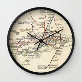 Vintage Map of The London Underground (1923) Wall Clock